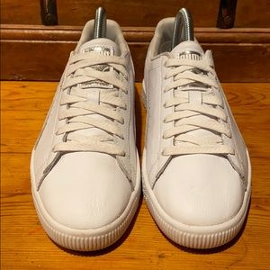 Puma Clyde white leather shoes.